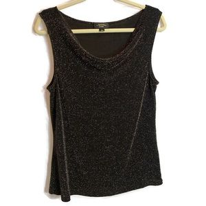Tahari Luxe Black Gold Shimmer Blouse Tank Large